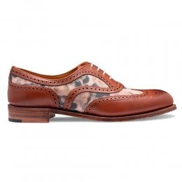 joseph cheaney 2019 pe donna cheaney mary two tone oxford brogue in chestnut calf pink floral suede p938 6557 thumb