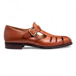 joseph cheaney 2019 pe uomo cheaney bertie ll t bar sandal in mahogany jupiter grain calf leather p925 6405 thumb